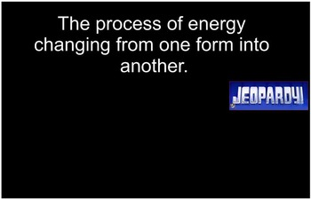 Energy Unit Review Jeopardy Game, Middle School Science, 6-8 Science