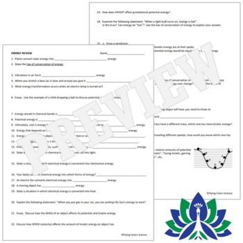 Energy Review Worksheet - Kinetic & Potential Energy, Forms of Energy