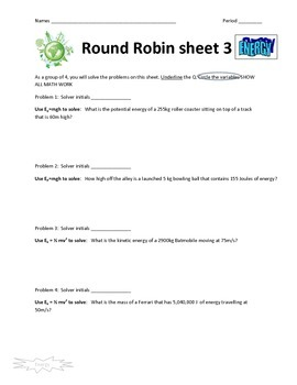 Energy Round Robin Activity