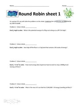 Energy Round Robin Activity