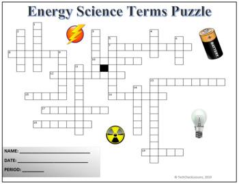 Energy Science Crossword Puzzle Activity Worksheet