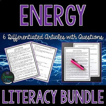 Energy Science Literacy Bundle - Distance Learning Compatible Articles