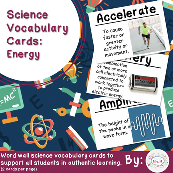 Energy Science Vocabulary Cards (Large)