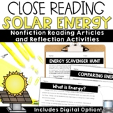 Solar Energy Reading Passages   Earth Day Comprehension with Digital