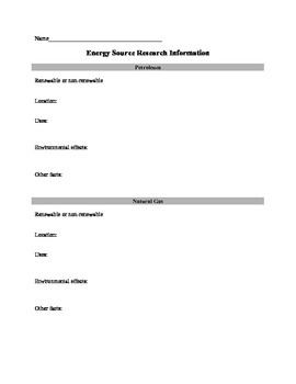 Energy Source Note Taking Sheet