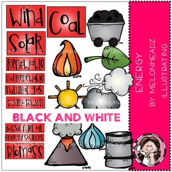 Melonheadz: Energy Sources clip art - BLACK AND WHITE