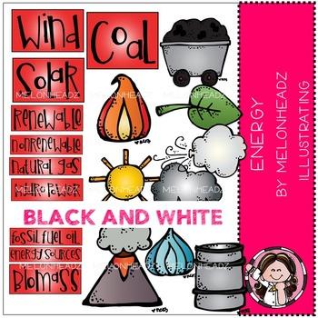 Melonheadz: Energy Sources clip art - BLACK AND WHITE