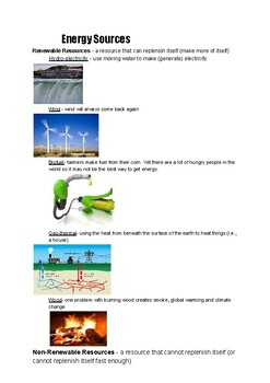 Energy Sources Examples with Photos