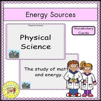 Energy Sources Vocabulary Cards