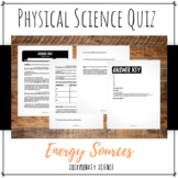 Energy Sources Quiz: 6th Grade Physical Science {Texas TEKS}