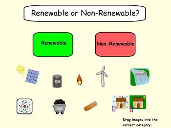 Energy Sources Renewable/Non-Renewable Smartboard Lesson and Printables