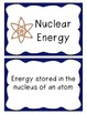 Energy Sources - Renewable/Non-Renewable Word Cards