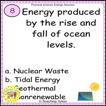 Energy Sources Task Cards