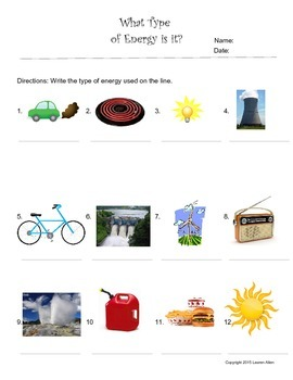 Energy Sources and Renewable and Non renewable worksheets
