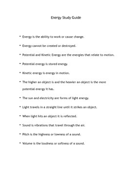 Energy Study Guide