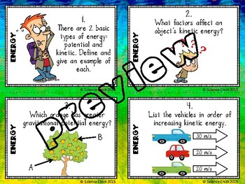 Energy Task Cards - with or without QR codes