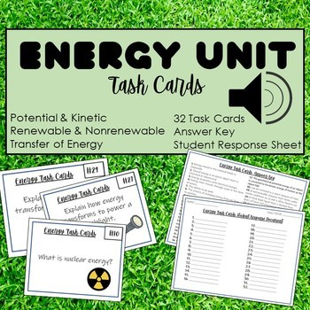 Energy Task Cards- 32 Cards with Answer Key