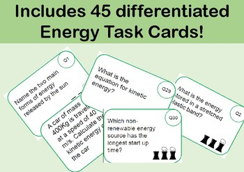 Energy Task Cards (Physics): Includes 45 differentiated cards!