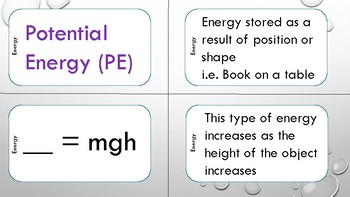 Energy Task Cards and Student Graphic Organizer