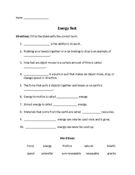 Energy Test -4th grade