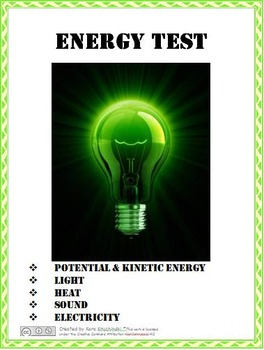 Energy Test:  Kinetic & Potential, Light, Heat, Sound, & E