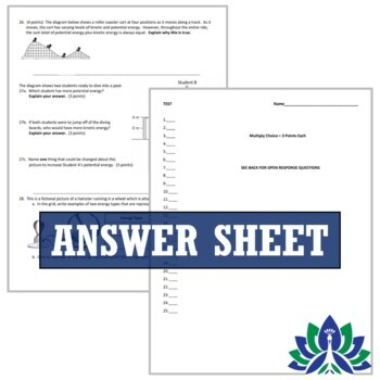Energy Test Assessment (Middle School)   NGSS MS-PS3-1 MS-PS3-2 MS-PS3-5