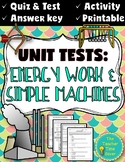 Energy Test, Quiz, and Reflection Activity (Editable Assessments)