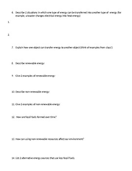 Energy Test Review-4th grade