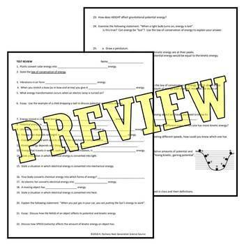 Energy Review Worksheet (middle school) NGSS MS-PS3-1 MS-PS3-2 MS-PS3-5