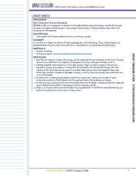 Energy Transfer - STEM Lesson Plan
