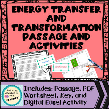 Energy Transfer and Transformation Coloring Worksheet Activity
