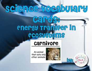 Energy Transfer in Ecosystems Science Vocabulary Cards
