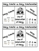 Energy Transfer vs. Energy Transformation and the Law of Conservation of Energy
