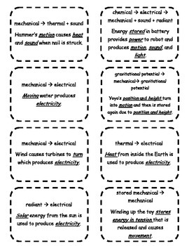 Energy Transformation Cards