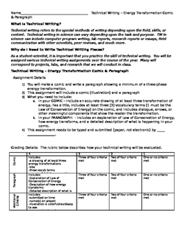 Energy Transformation Comic Strip Assignment - Technical Writing - Summative