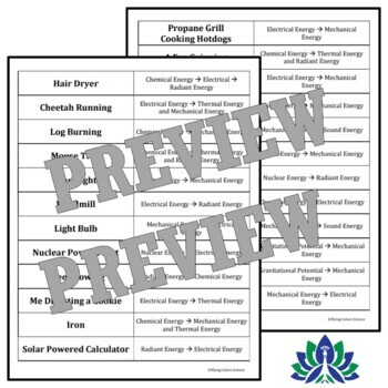 Energy Transformations Matching Middle School Activity Interactive Notebooks