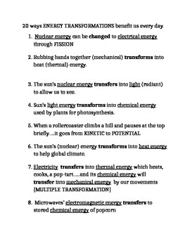 Energy Transformation Notes