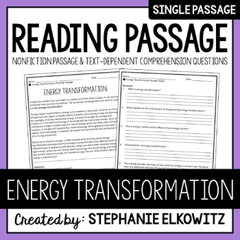 Energy Transformation Reading Passage