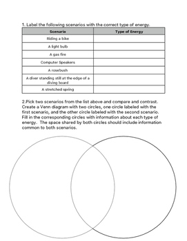 Energy Transformation Worksheet by Teaching Sisters | TpT