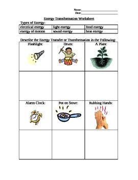 Energy Transformation Worksheet Teaching Resources | Teachers Pay ...