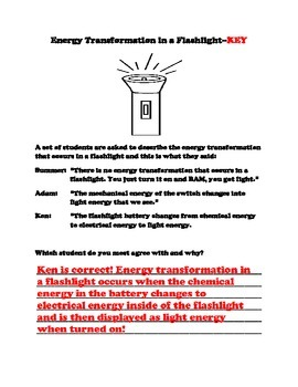 Energy Transformation in a Flashlight...Probe and Key