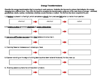 Energy Transformation Worksheet | Teachers Pay Teachers