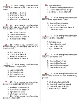 Energy Transformations WS