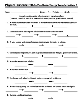 Energy Transformations #2 - Worksheet - Fill-In-The-Blank | TpT