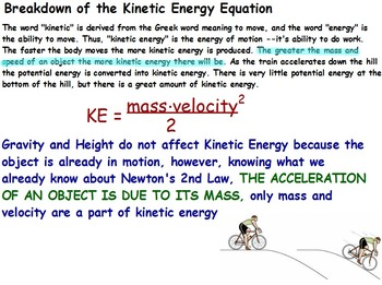 Physics - Energy Transformations - Kinetic Energy w/Worksheet (POWERPOINT)