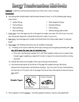 Energy Transformations Mini-book- HS-PS3-3