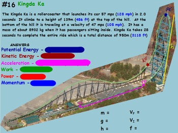 Physics - Energy Transformations -Potential&Kinetic Mathematics w/WS (POWERPOINT