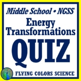 Energy Transformations Quiz Middle School NGSS MS-PS3-2  MS-PS3-5