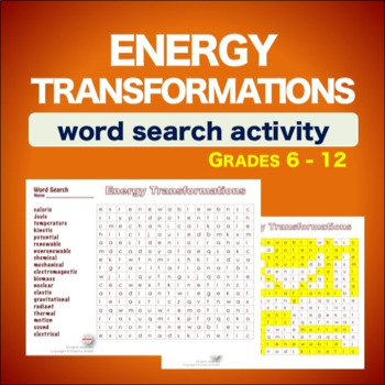 Energy Transformations * WordSearch * Vocabulary* Warm Up * Bell Ringer *