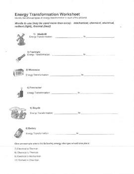Energy Transformations Worksheet | Teachers Pay Teachers